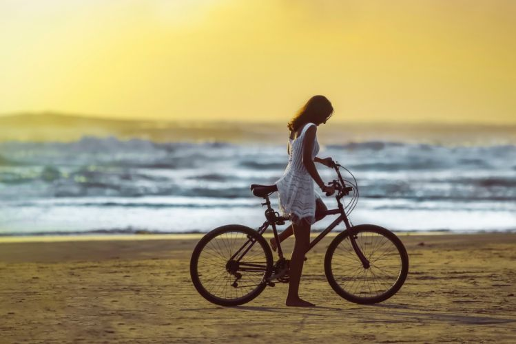 Photography-bicycle-sensuality-sensual-sexy-woman-girl-model-beach-sea-sand wallpaper