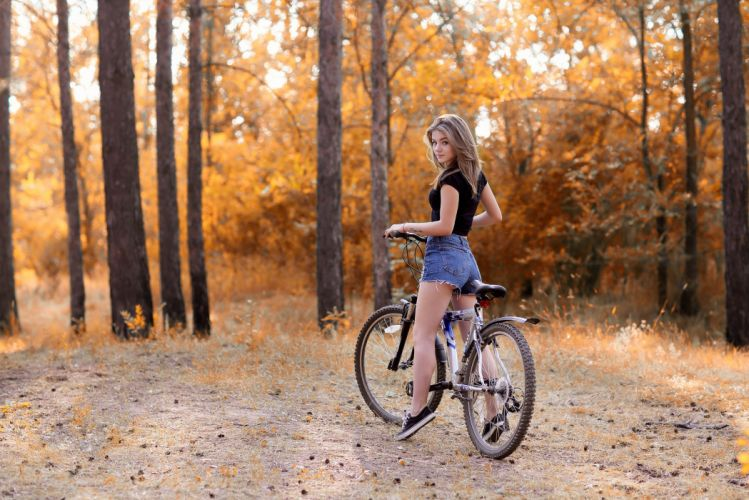 Photography-bicycle-sensuality-sensual-sexy-woman-girl-shorts-jeans-denim-torn-Margarita Murat-trees-forest-sneakers-500px wallpaper