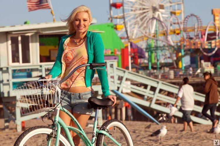 Photography-bicycle-sensuality-sensual-sexy-woman-girl-shorts-jeans-denim-torn-Tiffany Toth-model-beach wallpaper