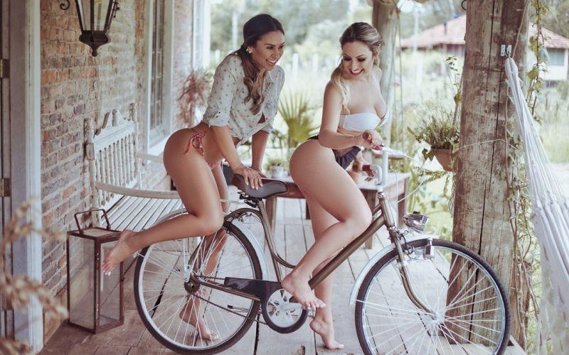 Sensuality-bicycle-sensual-sexy-woman-girl-bikini-model-couple-legs-barefoot wallpaper