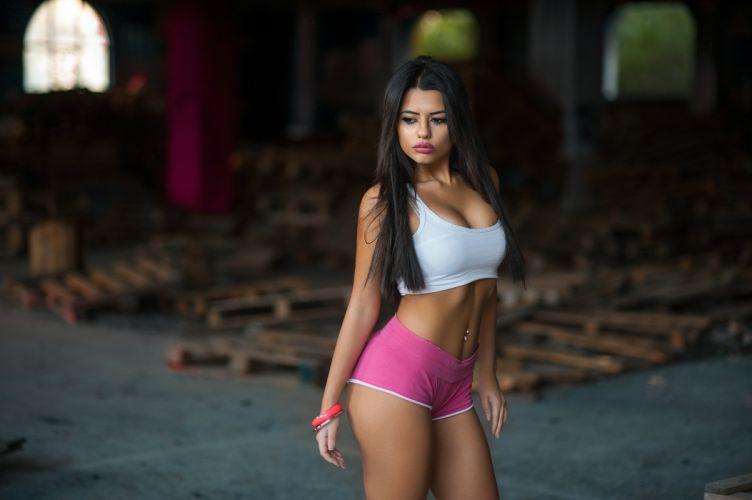 Sensuality-sensual-sexy-woman-girl-shorts-Marianna Bafiti-model-piercing-lips-cleavage-belly-tummy-navel wallpaper
