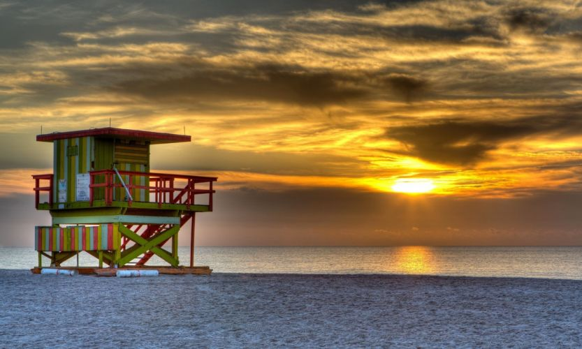 south-beach-miami-united-states-night-sunset-sun-sky-clouds-sea-ocean-sand-beach-the-tower-house wallpaper