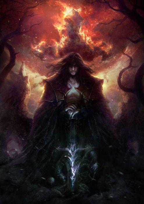 Dracul Void Sword original character fire fantasy wallpaper