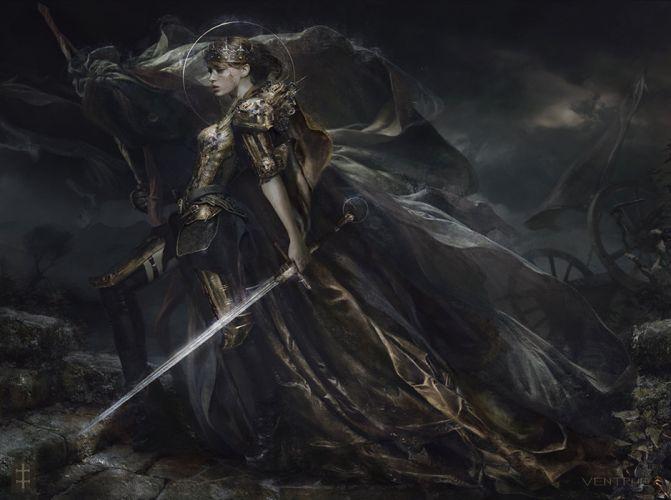 eve-ventrue-koenigin-wehmut original character beautiful woman fantasy dress sword magic wallpaper
