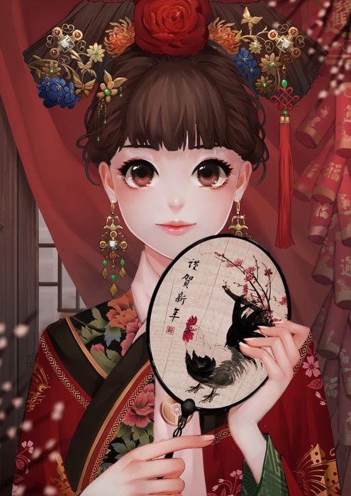wei-yi kimono original character beautiful woman fantasy dress wallpaper