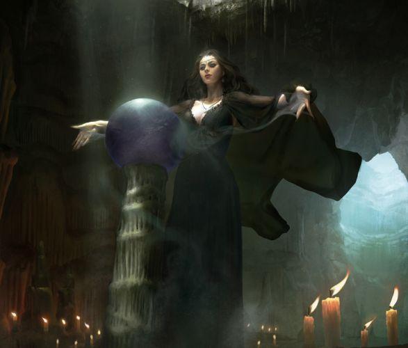 sangsu-jeong-qrqwrqwr original character beautiful woman fantasy dress witch magic wallpaper