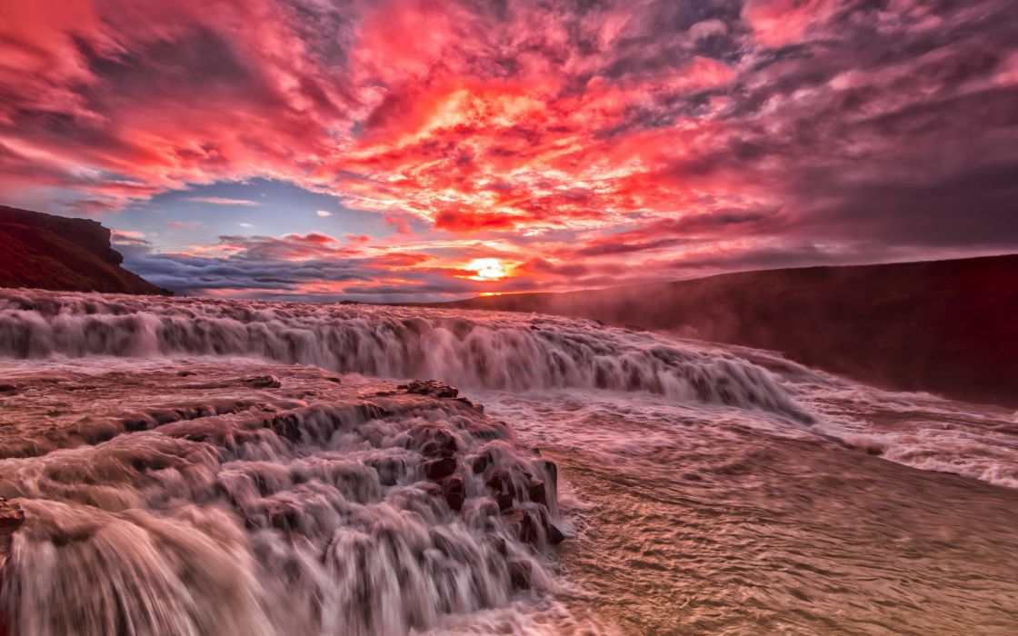 river rapids stream sunset clouds glow wallpaper