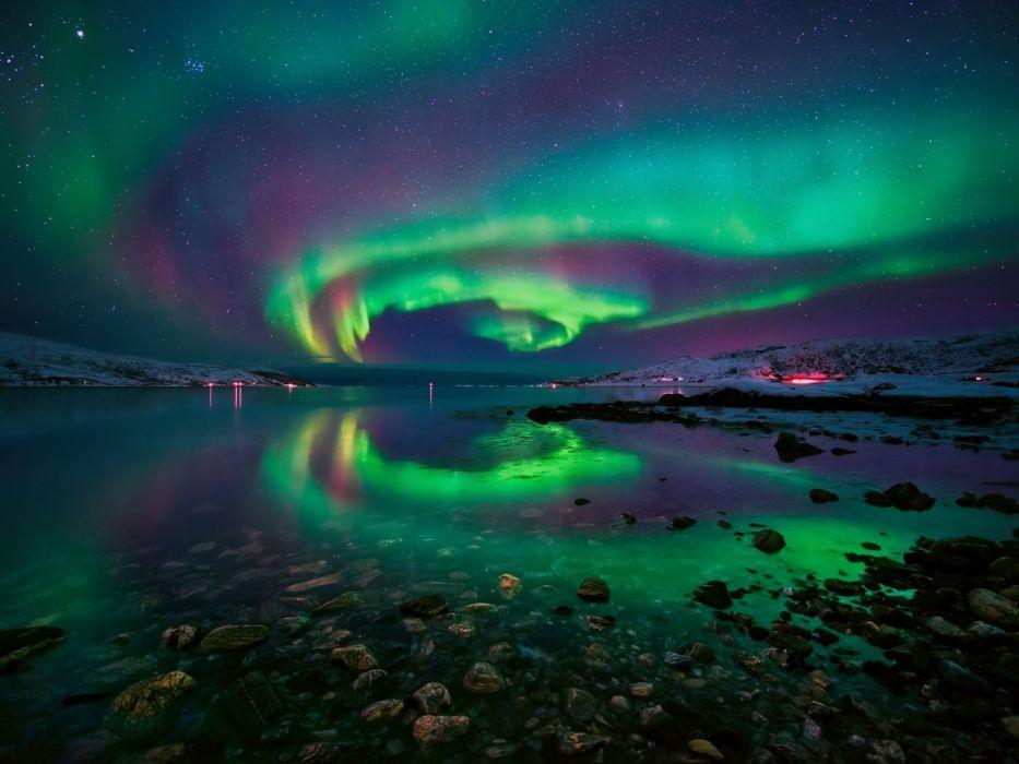 sky stars night rocks aurora borealis Norway Fjord wallpaper