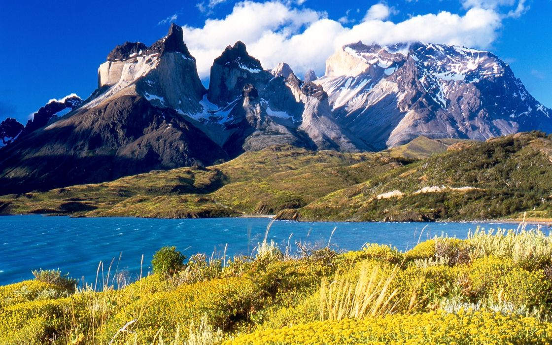 The Andes Mountains in the sunlight Chile wallpaper