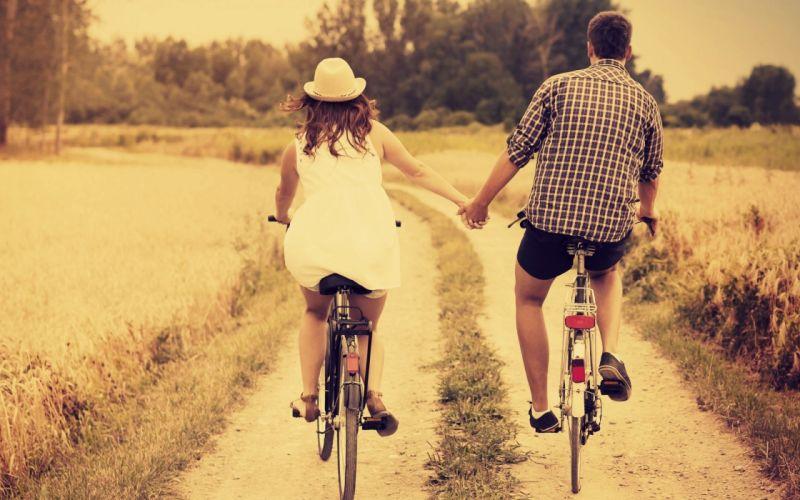 pareja amor paseo bicicleta wallpaper