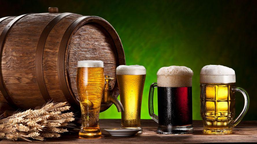 jarras vidrio cervezas barril wallpaper
