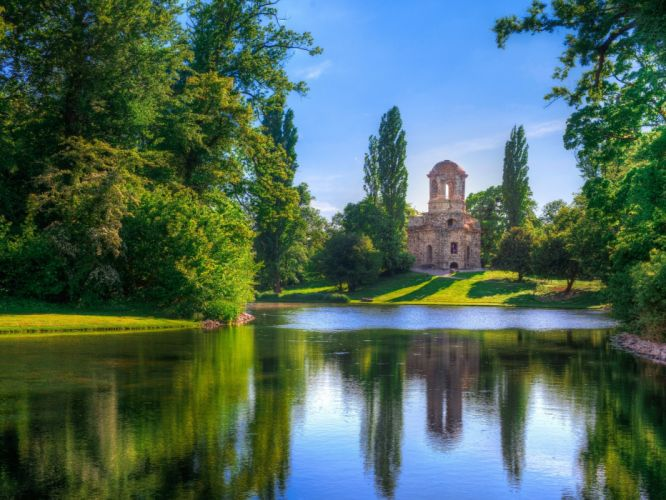 Castle on the River tree river grass reflection water castle clouds summer sky wallpaper