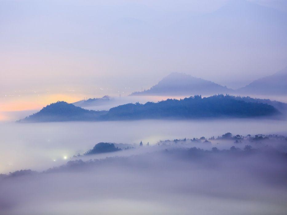 landscape mountains city fog wallpaper