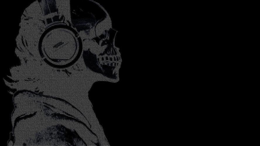 headphones skulls black dark text ascii hackers guy 1920x1080 wallpaper