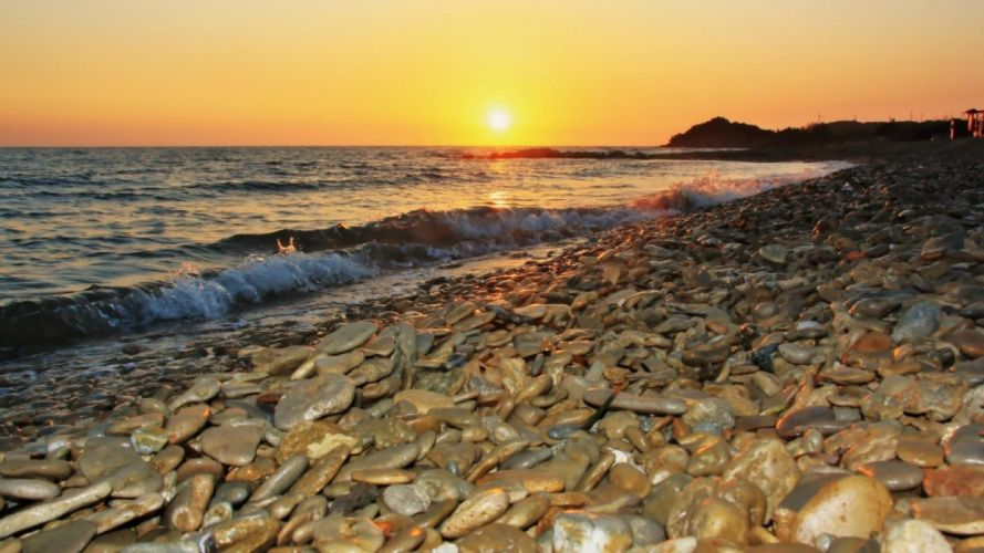 beach-beautiful-stone-sea-landscape-ocean-waves-nature-beauty-stones-sky-sunset wallpaper