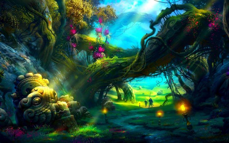 mystique forest 3 d wallpaper
