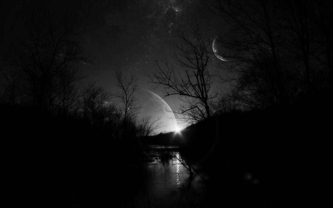 noche oscura bosque rio dark abstracto wallpaper