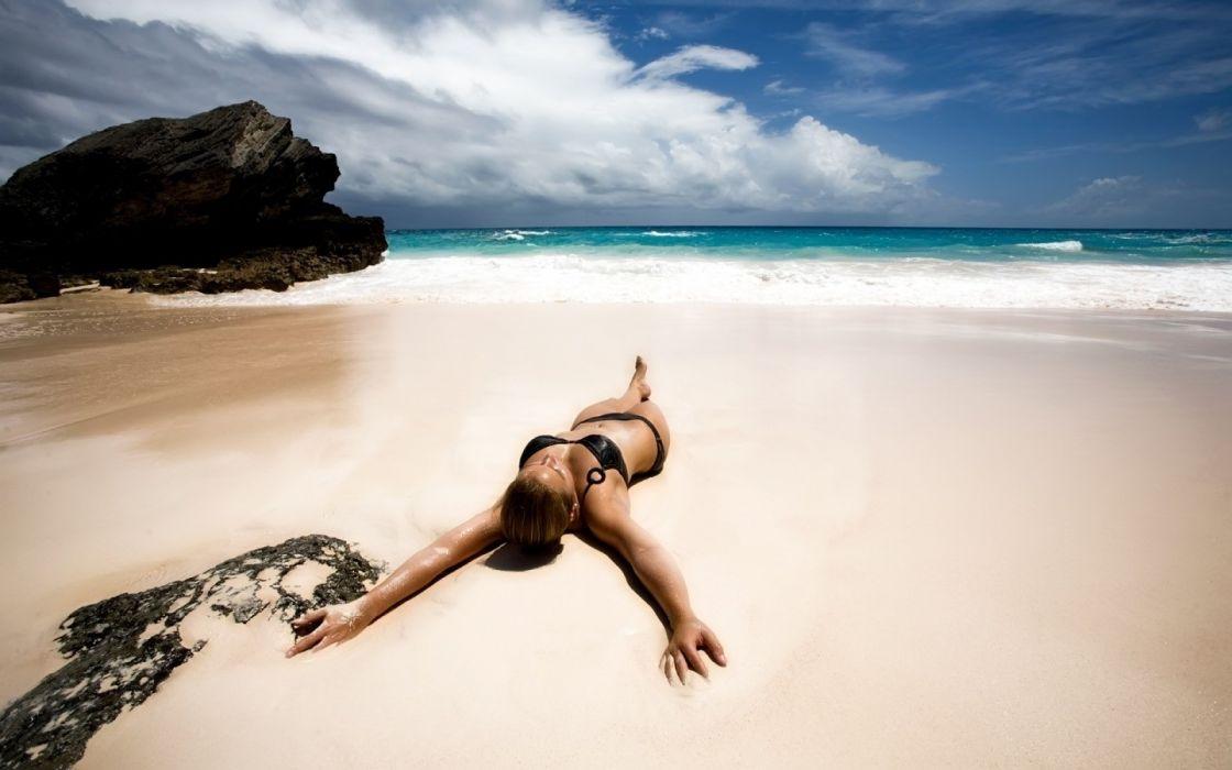 Photography sensuality sensual sexy woman girl model body bikini beach sea sand nature rock clouds lying wallpaper