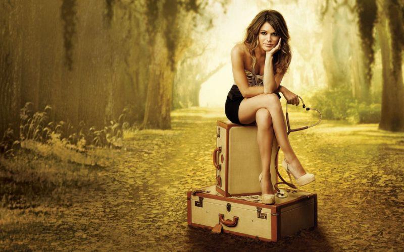 Photography sensuality sensual sexy woman girl model Rachel Bilson high heels legs skirt baggage wallpaper