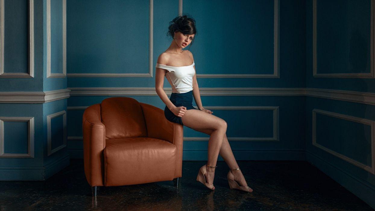 Sensuality sensual sexy woman girl model Alina Starostina legs bare shoulders skirt couch Georgy Chernyadyev wallpaper