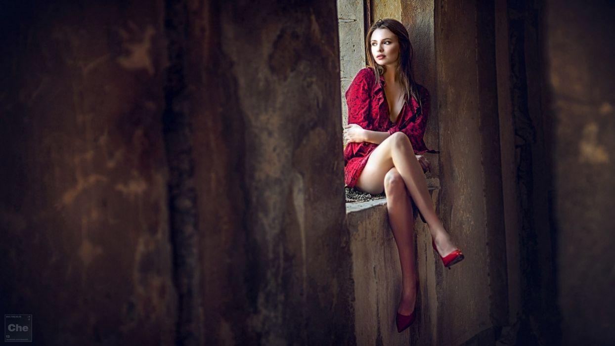Sensuality sensual sexy woman girl model Alina Borodich photography legs sitting window wallpaper
