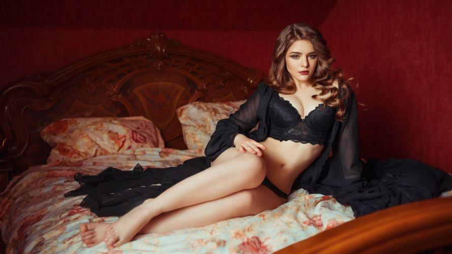 Sensuality sensual sexy woman girl model bed lingerie legs nightdress wallpaper