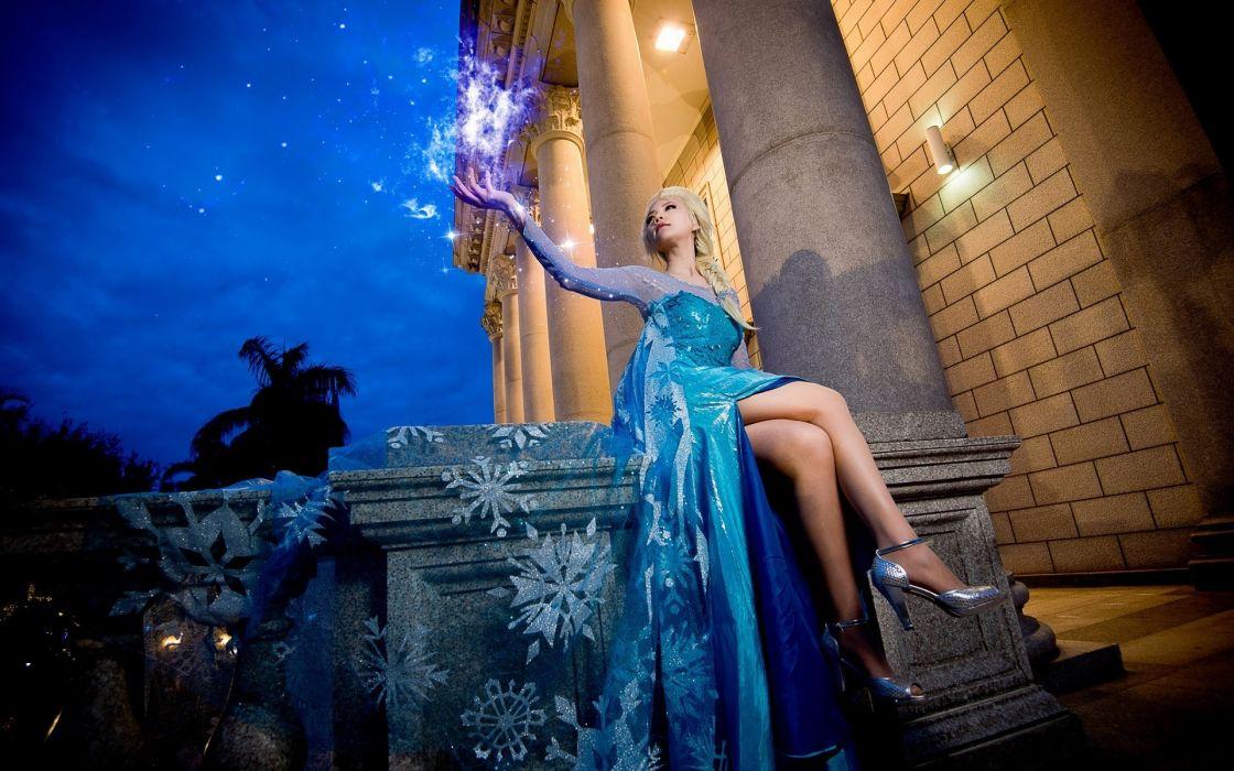 Sensuality sensual sexy woman girl model art Frozen Princess Elsa cosplay dress blue braids high heels legs fantasy wallpaper