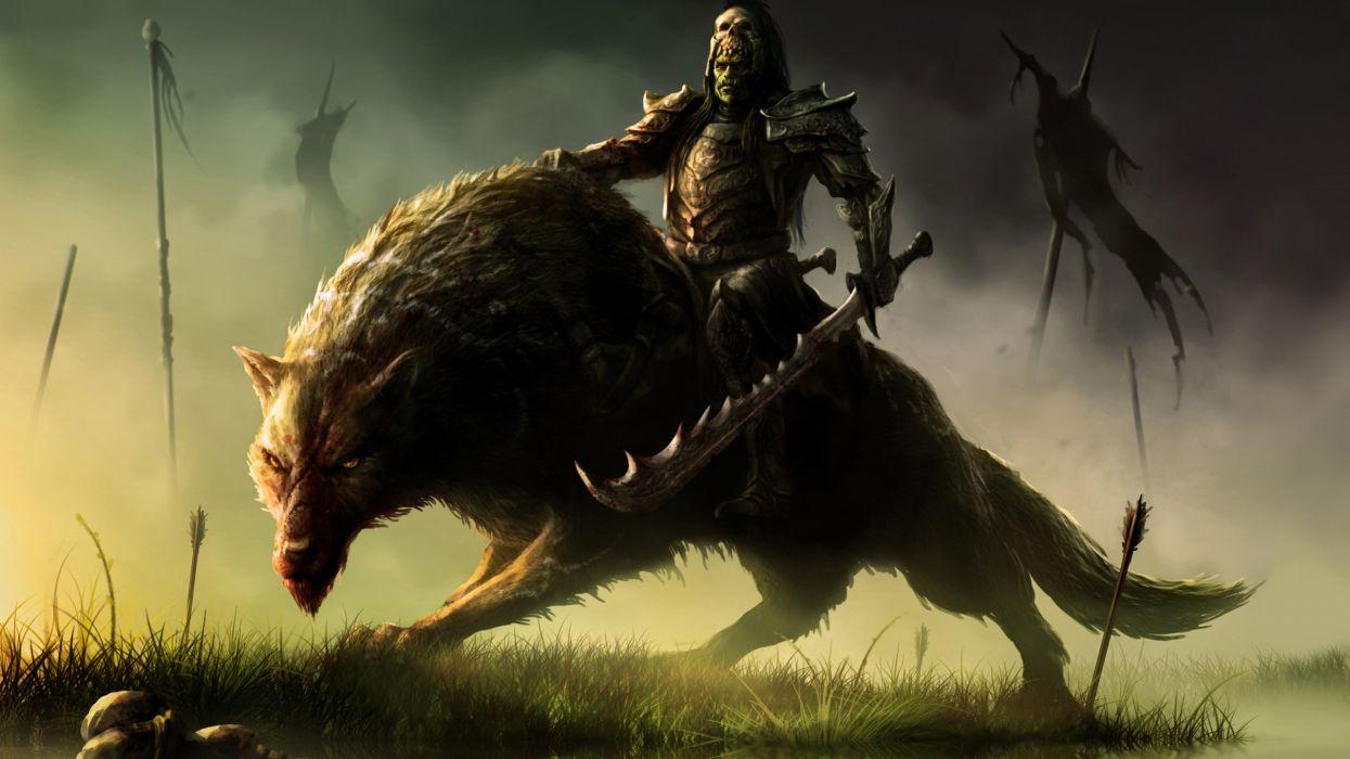 orco lobo fantasias guerrero wallpaper