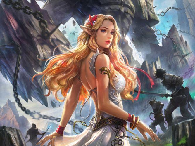 mujer elfo batalla fantasia wallpaper
