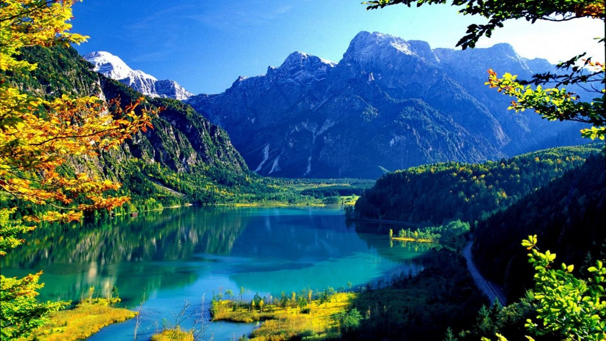 lake-almsee Clear Almsee Cliffs Blue View Hills Calm Lake Lakeshore Shore Crystal Slope Trees Mirrored Branches wallpaper