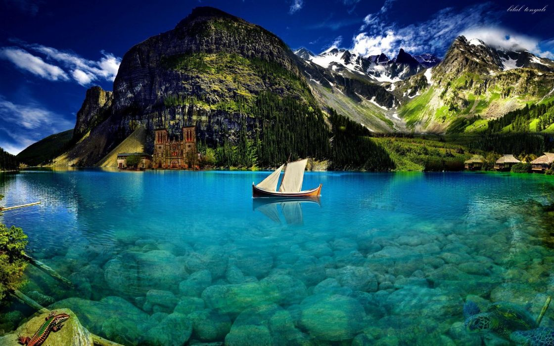crystal-blue-lake Lovely Castle Lake Nice Snowy Beautiful Shore Underwater Crystal Photoshop Mirrored Boat wallpaper
