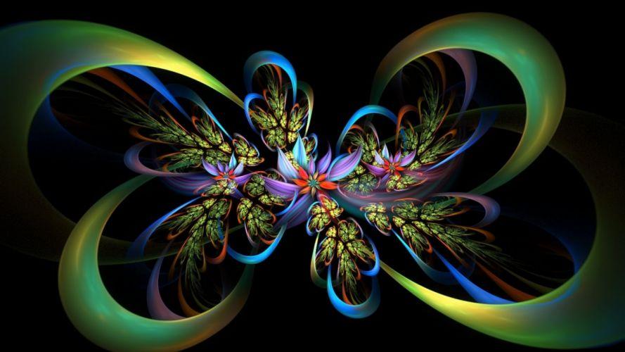 fractal lines flores colorido abstracto wallpaper