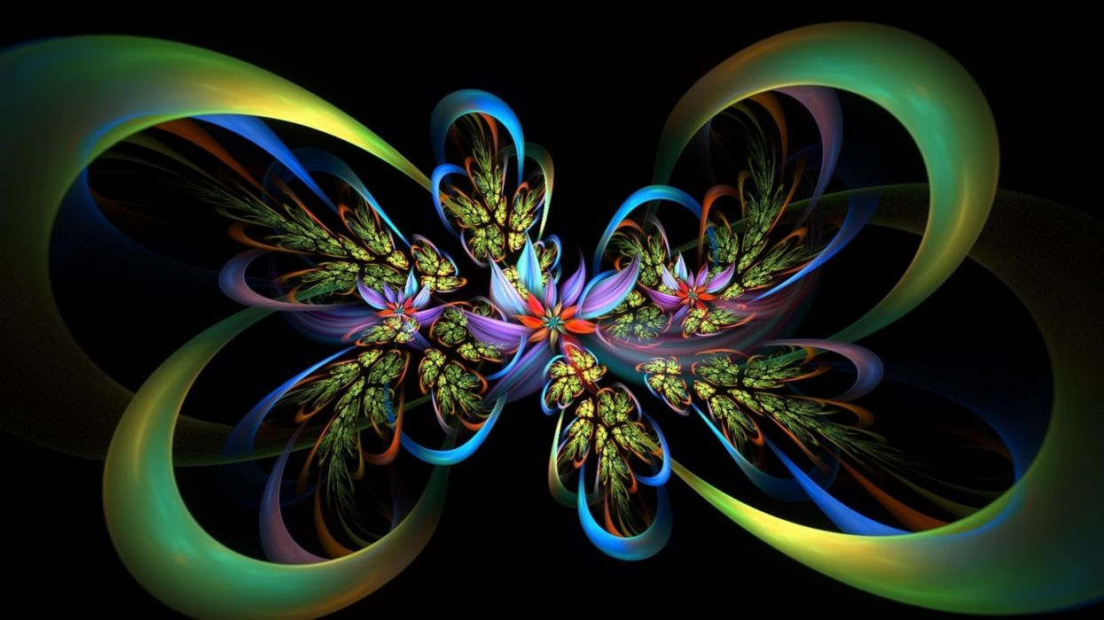 fractal lines flores colorido abstracto wallpaper