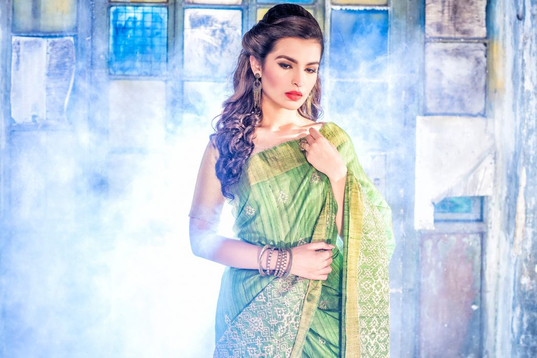 bollywood actress celebrity model girl beautiful brunette pretty cute beauty sexy hot pose face eyes hair lips smile figure indian traditional Jewellery makeup fashion saree sari wallpaper