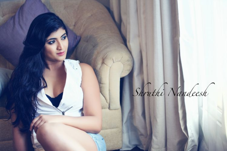 Shruthi Nandeesh bollywood actress celebrity model girl beautiful brunette pretty cute beauty sexy hot pose face eyes hair lips smile figure makeup indian wallpaper
