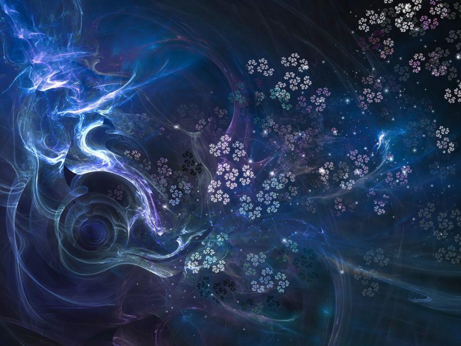fractal azul abstracto flores wallpaper