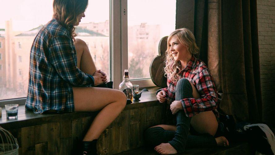 Sensuality sensual sexy woman girl model couple window whisky Chivas Regal shirt plaid legs smiling wallpaper