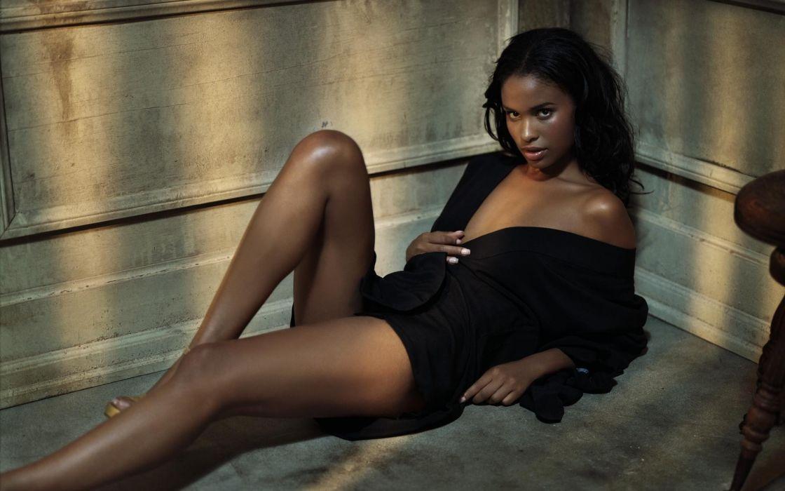 Sensuality sensual sexy woman girl model Joy Bryant black dress legs wallpaper