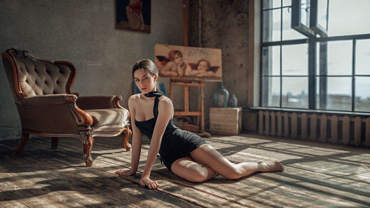 Sensuality sensual sexy woman girl model Ksenia Artemyeva floor minidress legs ponytail cleavage barefoot Georgy Chernyadyev wallpaper