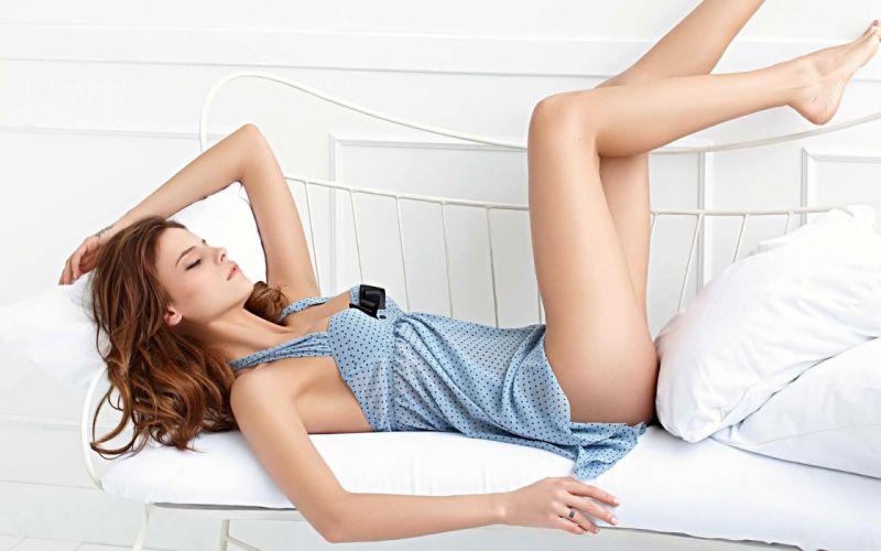 Sensuality sensual sexy woman girl model Daniela Freitas legs lingerie lying couch pillows wallpaper