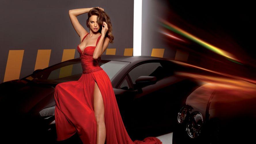Sensuality sensual sexy woman girl model machine car Irina Shayk legs dress slit cleavage wallpaper