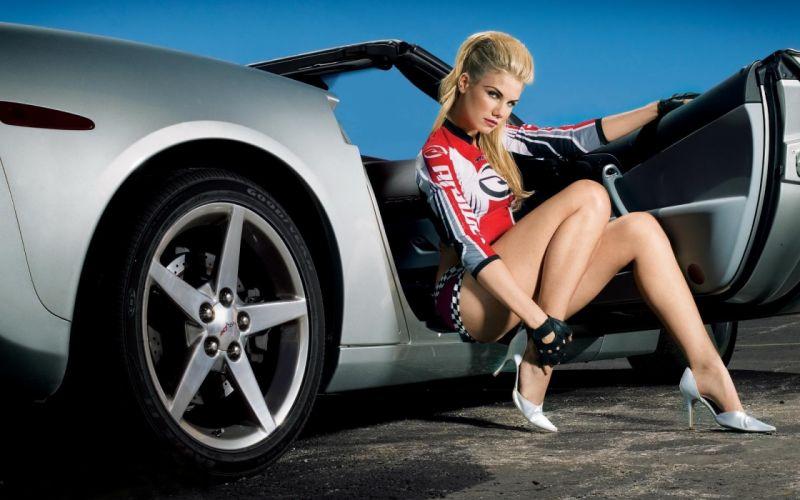 Sensuality sensual sexy woman girl model machine car chevrolet corvet silver legs heels wallpaper