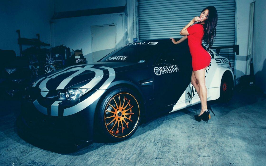 Sensuality sensual sexy woman girl model machine car BMW red dress legs high heels wallpaper