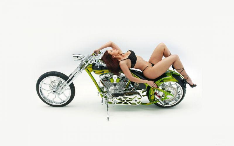 Sensuality sensual sexy woman girl model machine motorcycle bike high heels legs bikini lying posing wallpaper