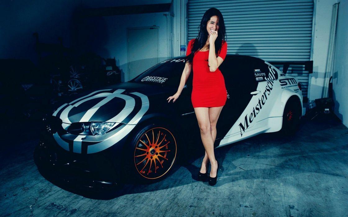 Sensuality sensual sexy woman girl model machine car BMW smiling red dress legs hight heels wallpaper