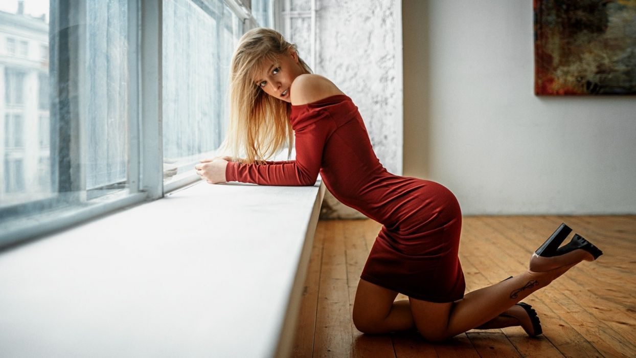Sensuality sensual sexy woman girl model Mila Prihojeva high heels dress red Georgy Chernyadyev wallpaper