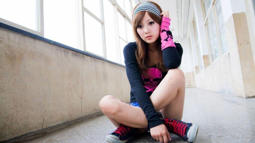Sensuality sensual sexy woman girl model Mikako Zhang Kaijie asian converse hallway sitting legs window skull floor wallpaper