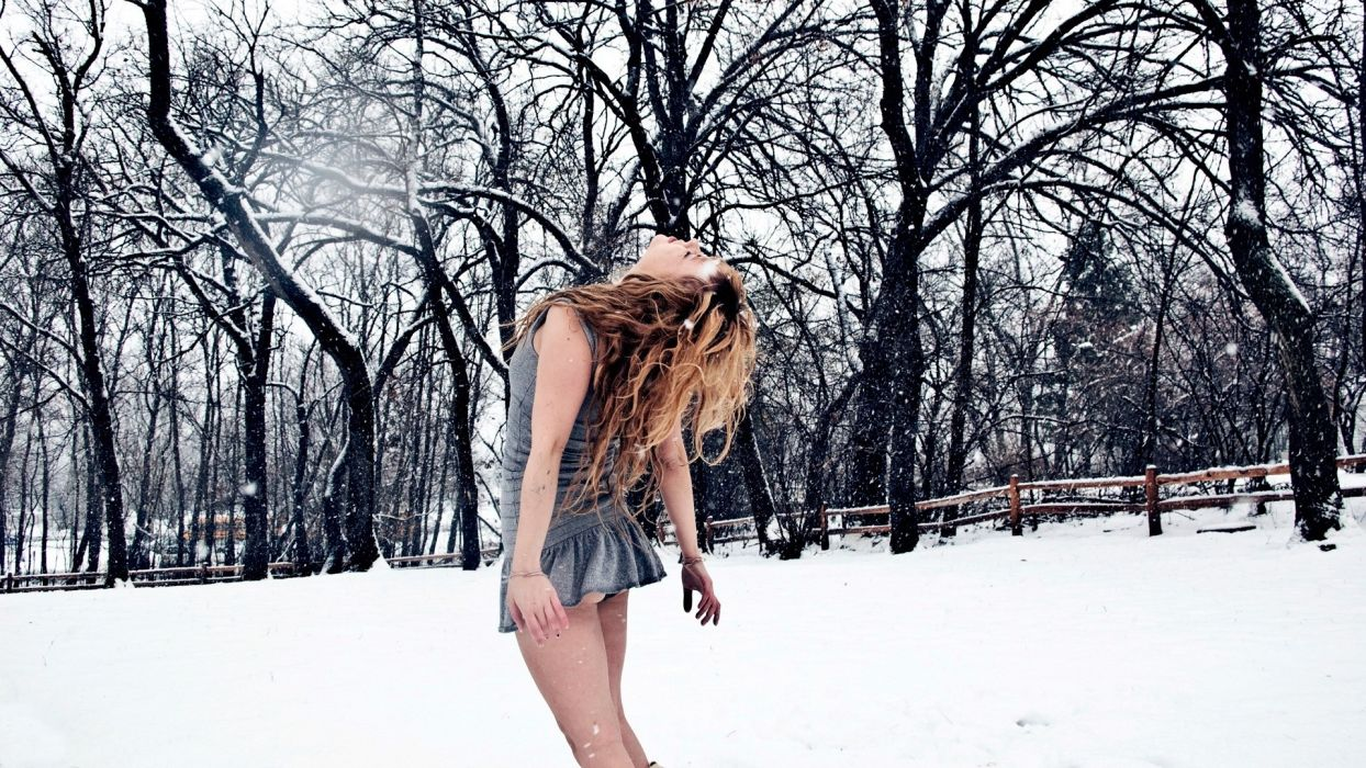 Sensuality sensual sexy woman girl model minidress snow legs upskirt winter cold trees wallpaper