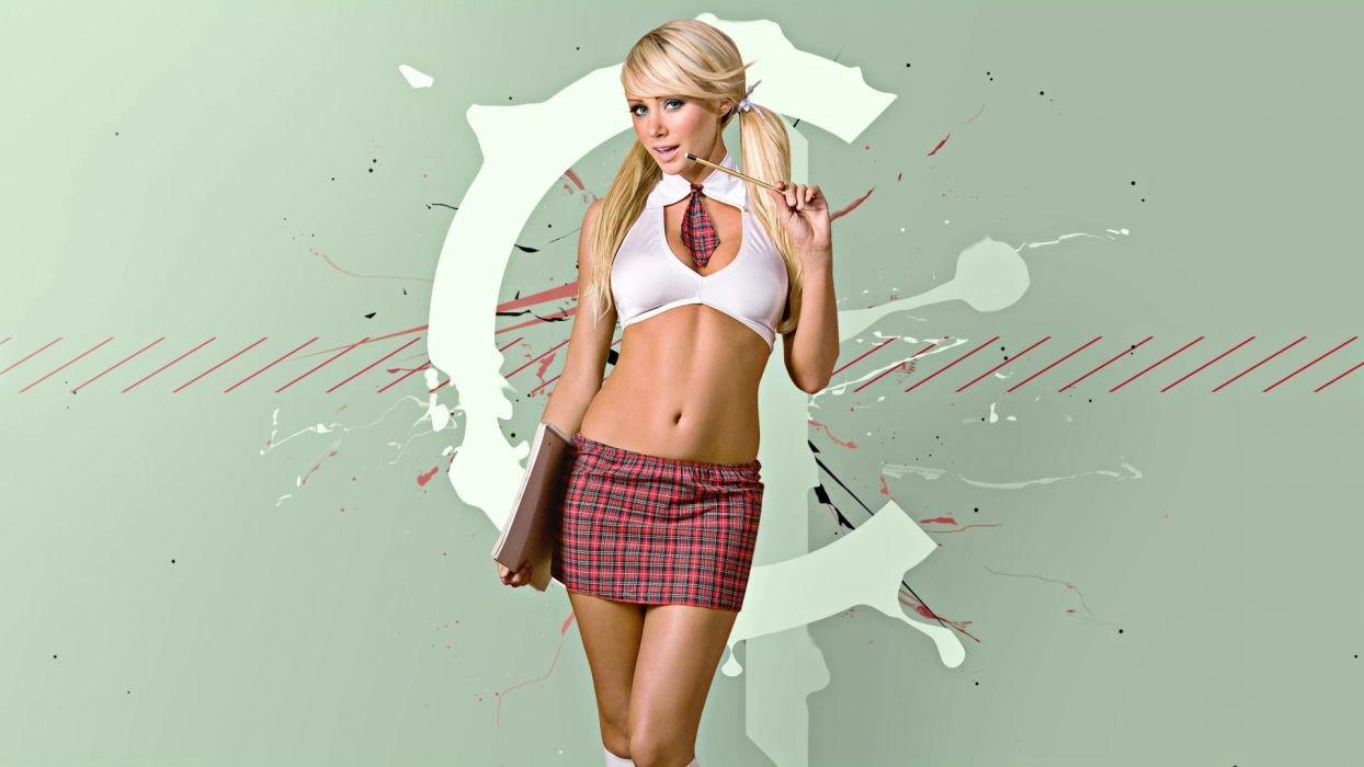 Sensuality sensual sexy woman girl model Sara Jean legs socks pencil top belly tummy navel miniskirt wallpaper