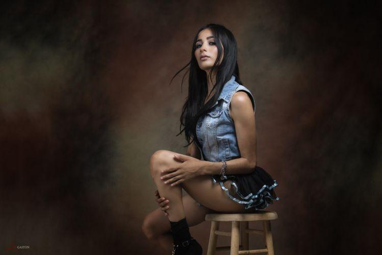 Sensuality sensual sexy woman girl model sitting mini skirt denim socks wallpaper